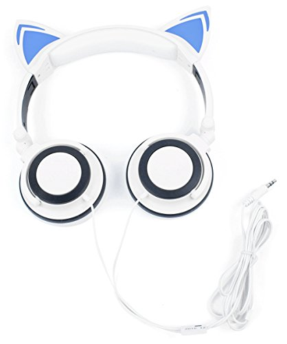 DURAGADGET Kids' Cat Ear LED Light Up Headphones (White) - Compatible with Kurio TAB Connect 7 Inch Tablet & Kurio Snap Camera