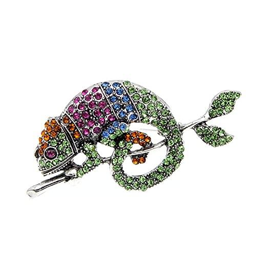 Broches de lagartija de diamantes de imitación de camaleón Broche de diseño de animales