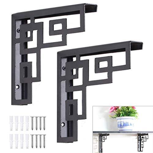 XHCP 2X Shelf Bracket,Retro Wrought Iron Wall Bracket,Shelf Support Frame,Triangular Right Angle Shelving Bracket,Heavy-Duty Bracket Decorative Frame,Black,Creative Fashion Style(30 * 23cm)