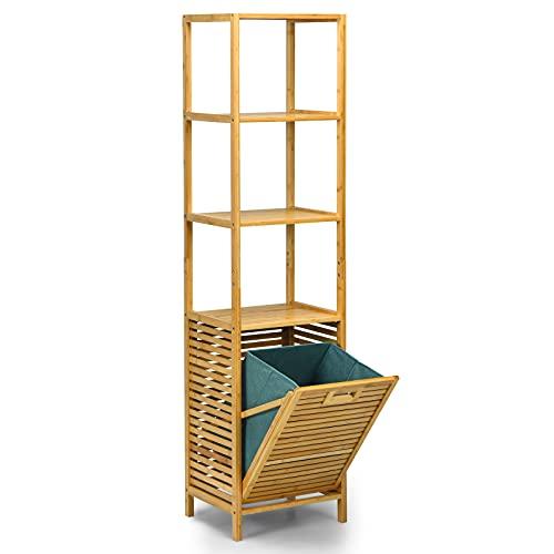COSTWAY Estantería de la Cesta de la Ropa Sucia Retráctil para Baño, Organizador Torre con Cesta de Bambú y 3 Repisas, Revestimiento en Tejido Oxford Removible, Baño Lavandería