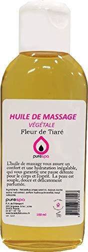 Huile de massage végétale parfumée à la FLEUR DE TIARE - 100ml- Purespa By Purenail - Livraison Gratuite en France