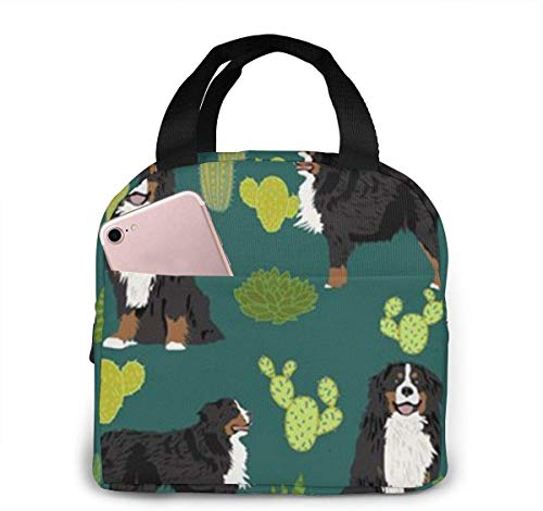 Lunchpaket, Isolierte Lunchbox, Bernese Mountain Dog Portable Insulated Lunch Bag Tote 8.5 X 8 X 5 Inch Meal Prep Box with Zipper for Office School Women Men Picnic Food Kids Girls Boys