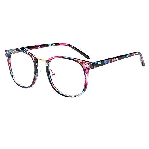 forepin Montura para Gafas de Vista Hombre y Mujer Antiguas Grandes Vintage Visión Clara Glasses Cristal Lente Transparente - Flores Azules Retras