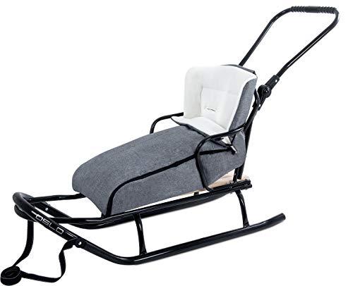 GaGaDumi Slittino in Legno per Bambini con Schienale Maniglia e Sacco a Pelo Slitta Davos (O4-Grigio)