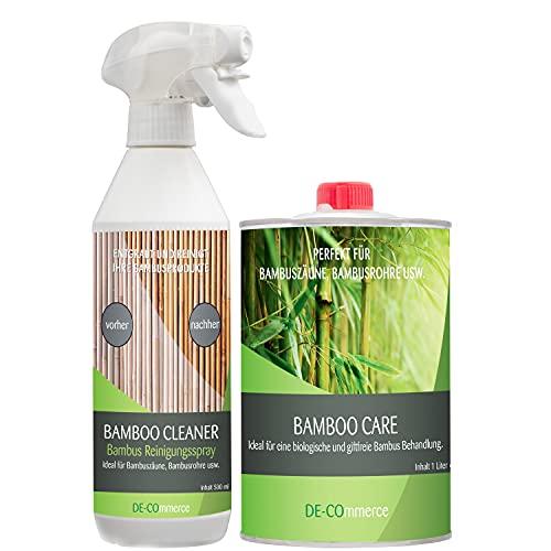DE-COmmerce® Pflege Set | Pflegeöl | Reinigungsspray für Bambus außen| Bambuszaun | Sichtschutz | Pflege | Pflegeset