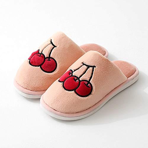 Zapatillas Algodón Mujer Slippers,Rosa Lindo Cereza Zapatillas De Felpa Otoño Invierno Antideslizante Zapatillas De Algodón Caliente Al Aire Libre En Interiores Anti-Skid Zapatos Para Casa Con Luz