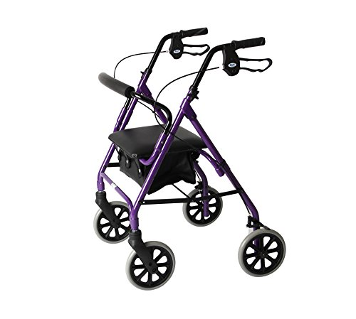 Days Lightweight Folding Four Wheel Rollator Walker with Padded Seat, Lockable Brakes, Ergonomic Handles, and Carry Bag, Mobility Aids, Medium, Purple