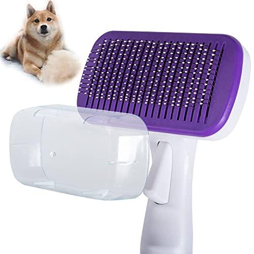 MELERIO Slicker - Cepillo de pelo para perros y gatos, cepillo de aseo de mascotas, cepillo diario para eliminar el pelo largo y corto para perros y gatos - morado
