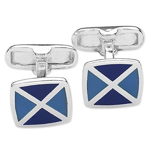Homme carré deux tons Boutons de manchette en émail bleu – Bleu et bleu marine – Argent Sterling 925 – Style Classique à rabat Boutons de manchette