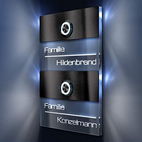 Türklingel 2-fach - Doppel-Klingelplatte aus Edelstahl - Acrylglas-Namensschild inklusive 3D-Gravur mit LED-Beleuchtung