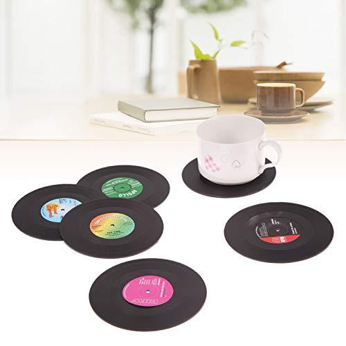 DHmart 6 Posavasos de Vinilo, diseño Retro, para decoración del hogar, CD, Grabado, café, Vaso, manteles Individuales, vajilla