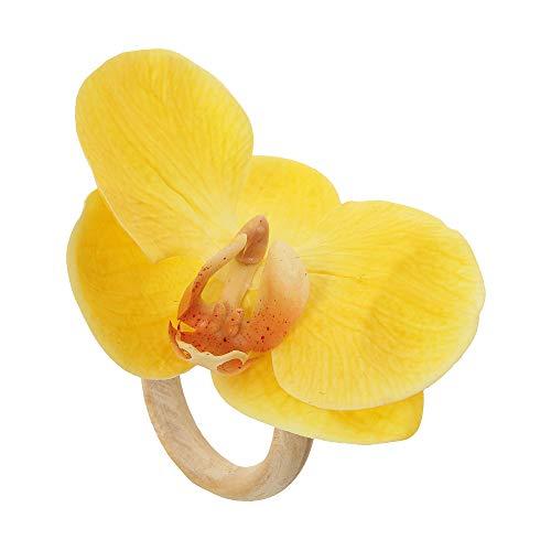 Argola de Guardanapos Auguri Casa Orquídea Amarela