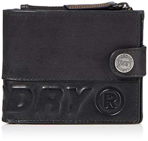 Superdry Herren Profile Leather Wallet in a Tin Geldbörse, Schwarz (Black), 11x2x10 cm