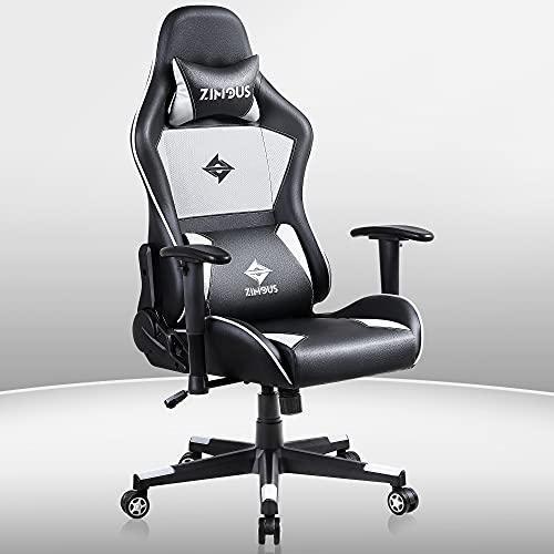 Zimous Gaming Stuhl, Bürostuhl, Ergonomischer Computerstuhl mit hoher Rückenlehne und Lendenmassage, drehbarer Schreibtischstuhl aus PU-Leder mit Kopfstütze und verstellbarer Armlehne (Schwarz & Grau)