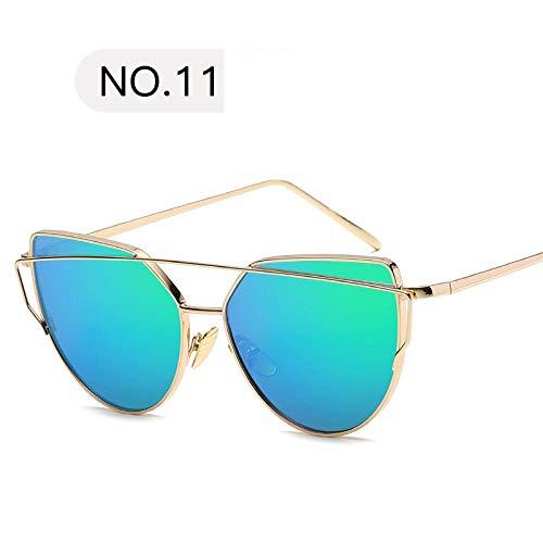 Modische Sonnenbrillen New Women Spiegel Flache Rose Gold Vintage Metall Reflektierende Cat EyeSonnenbrille MännerWeibliche Vintage Brille C11