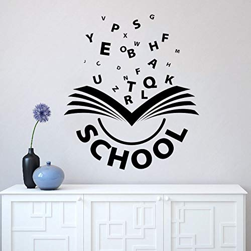 JXND Books and Wall Letters Educational Vinyl Art Stickers Kids Decals Family Study Room Decoration 57x40