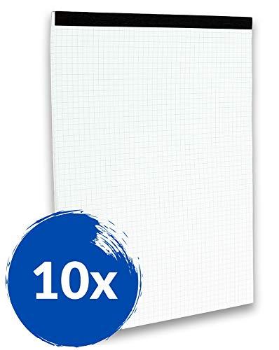 Landre Notizblöcke A4 kariert ohne Deckblatt, 50 Blatt, 10er Pack