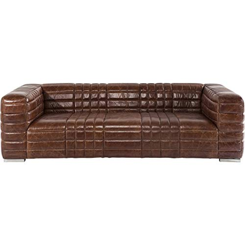 Kare Design Polstersofa Square Dance 3sitzer Couch, XXL Polstercouch, großes, modernes 2er/3er Loungesofa, Echtledercouch, Ledersofa, Ledercouch, Braun (H/B/T) 67x234x112cm, Leder