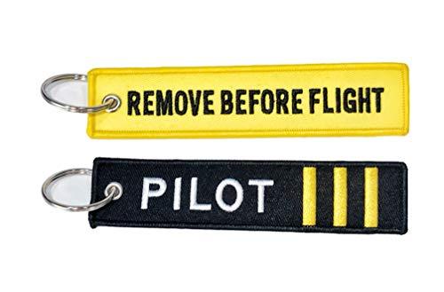 Pack porte-clés avec texte Remove Before Flight + pilote premier officiel.