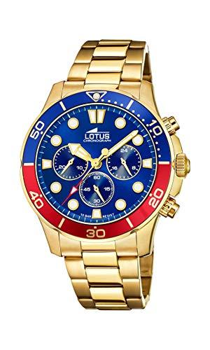 Lotus Herren Analog Quarz Uhr mit Edelstahl Armband 18758/5