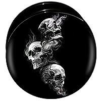 ボディピアス 00G プラグ ネジ式フレア 呪怨スカル樹脂 トンネル メンズ ホールピアス 埋め込み型 ブラック イヤーロブ 丸型 骸骨 ドクロ ハロウィン スケルトン