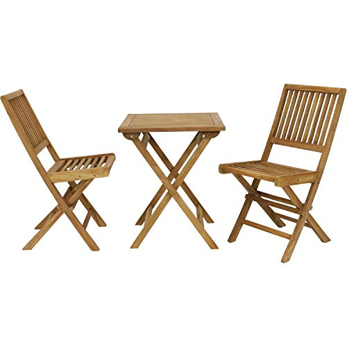 Sunnydaze Nantasket 3-Piece Solid Teak Outdoor Folding Bistro Set - 2 Chairs and 1 Table - Light Wood Stain Finish - Patio, Deck, Lawn, Garden, Terrace or Backyard