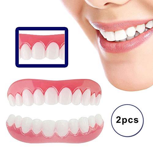 Kosmetik Zähne Prothese Extra Dünn 1 Paar Temporär Lächeln Komfort Fit Zahnersatz Provisorischer Veneers für Oberkiefer und Unterkiefer