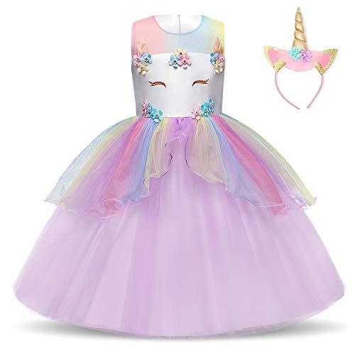 NNJXD Vestido de Unicornio para niñas Fiesta de Apliques de Flores Cosplay Disfraz de Halloween + Gorros Tamaño (140) 6-7 años Púrpura