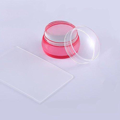 Professionele stamper voor nagelkunst en schraper, trekker voor nagelbeeld, duurzame afbeelding Silicone transparent red