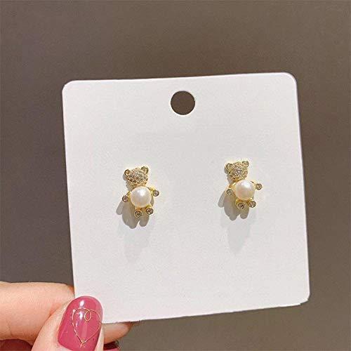 Diamante completo oso bebé Pendientes de perlas mujer 925 aguja de plata red roja Pendientes personalizados pendientes de niña linda suave