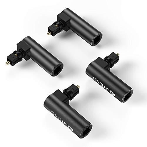 ELUTENG Optisches Audiokabel abgewinkelt(360°drehbar) 4 Packs,Toslink 90 Grad°,Winkelstecker für Toslink Kabel Stecker auf Buchse vergoldet,geeignet für Dolby, DTS, 5.1 usw.Audiosignale,schwarz