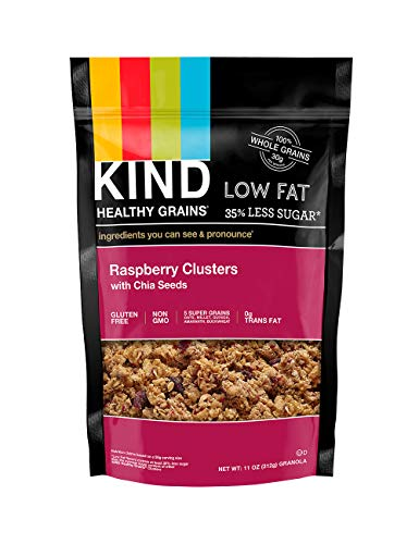 KIND Healthy Grains Clusters, Raspberry with Chia Seeds Granola, Gluten Free, 11 Ounce Bag