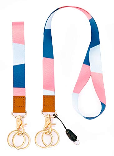Lanyard with ID Holder Key Chain Wrist Strap Badge Mobile Phones Wallets Car Key Lanyards Durable Premium Quality Wristlet Strap Neck Cool Lanyard (2 Pack) (Multicolored)
