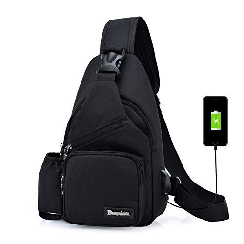 Estwell Sling Rucksack Outdoor Brusttasche Herren Damen Sport Schultertasche mit USB Kabel und Wasserflasche Halter