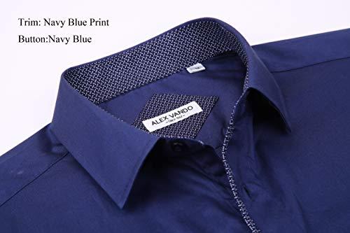 Alex Vando Mens Dress Shirts Long Sleeve Regular Fit Casual Men Shirt(Navy,XXLarge)