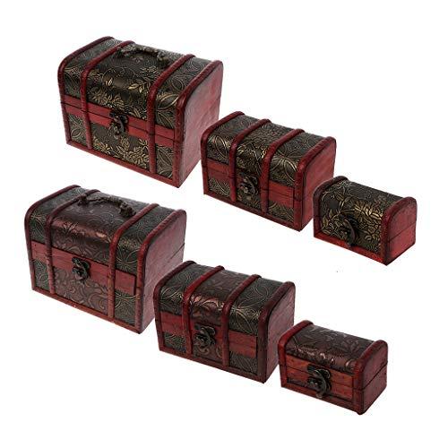 SKYVII 3 piezas de diferentes tamaños vintage de madera de almacenamiento pirata tesoro caja de joyería