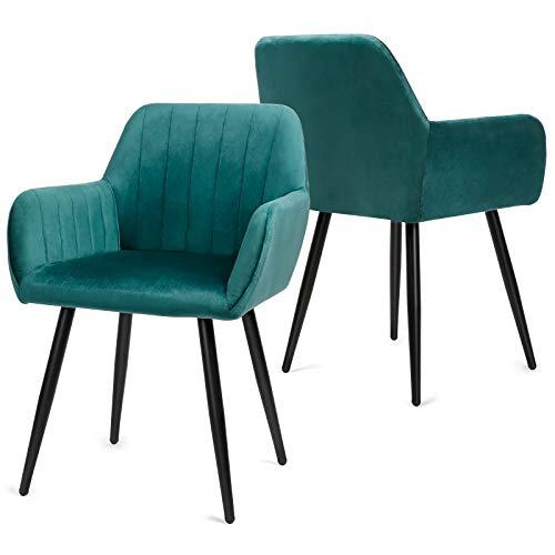 Besit Lot de 2 Chaises de Salle à Manger Scandinaves Fauteuil Chaise de Cuisine Rembourrée Chaise Design Chaise de Salon Chaise en Tissu Velours Rétro, Vert Foncé