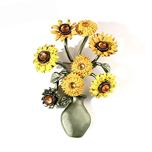 wangk Sunflower Vase Design Vintage Brooch Pin Elegant Suit Cardigan Pin Brooche