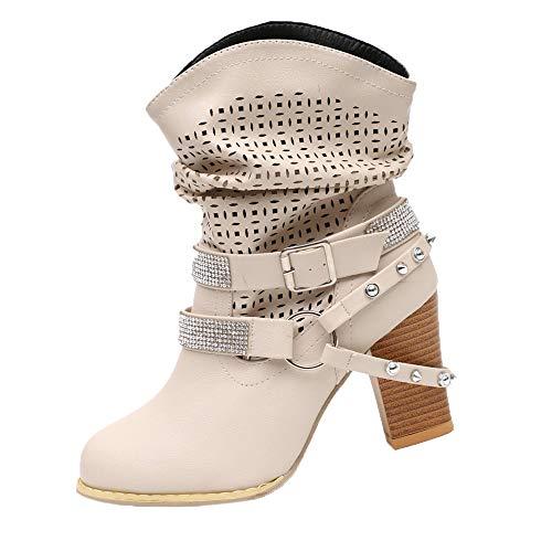 VJGOAL Damen Stiefel, 8CM Damen Mode aushöhlen Partei Knöchel Absatz halb Stiefel Damen Herbst Winter High Heel Wedges Schuhe (Beige, 39 EU)