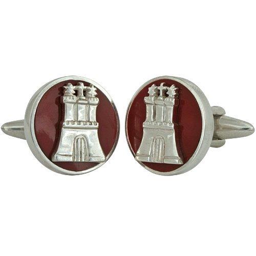 ZAUNICK Hamburg Manschettenknöpfe Silber 925 handgefertigt, rund, rot