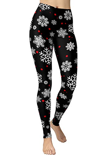 VIV Collection Regular Size Ultra Soft Brushed Fashion Print Leggings, Snowflake Red