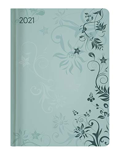Alpha Edition - Agenda Settimanale Ladytimer 2021, Formato Tascabile 10,7x15,2 cm, Fiori Turchesi, 192 Pagine