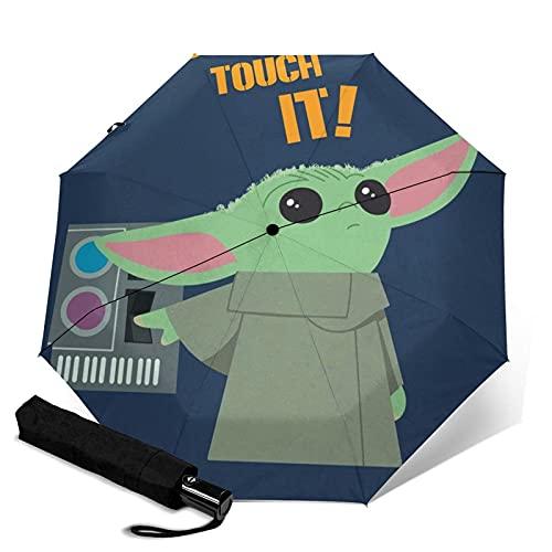 Taschenschirme Star Mandalorian Wars Baby Yoda Automatischer Unisex-Dreifach-Regenschirm Wasserdichter Sonnenschutz Robuste winddichte Strapazierfähige Regenschirme