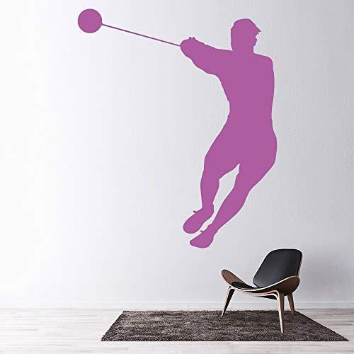 Lanzamiento de martillo Atletismo Deportes Etiqueta de la pared Sala de ejercicios Vinilo Tatuajes de pared Gimnasio Decoración del hogar para la sala de estar colore-2 42x50cm