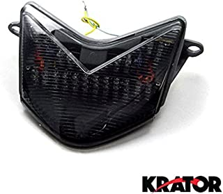 Krator ITL007 Turn Signals (2005-2007 Kawasaki ZX6RR 636 / Z750S / ZX10R LED TailLights Brake Tail Lights with Integrated Indicators Smoke Motorcycle)