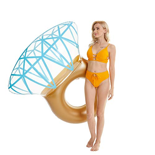 Tzsmat Inflatable Diamond Ring Pool Float Swimming Floaty Party Toys for Adults & Kids