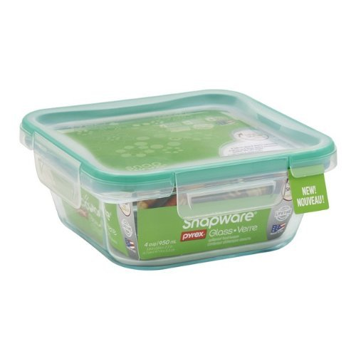 Snapware 1109304 4 Cup Glass Square With Plastic Lid by Snapware