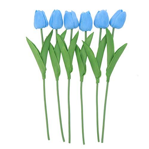 Amosfun 6 stücke PU künstliche tulpe blume hochzeit gefälschte blumensträuße blumen für hochzeit zu hause herz dekoration (blau)