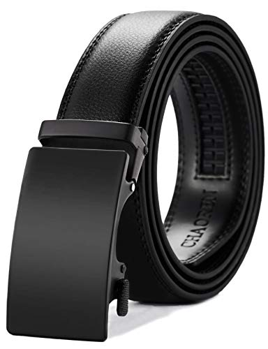 """Mens Belt, Ratchet Belt Dress with 1 3/8"""" Genuine Leather, Slide Belt with Easier Adjustable Buckle, Trim to Fit"""