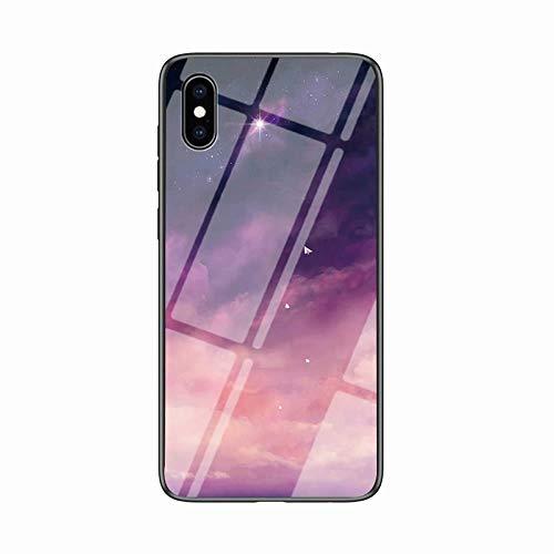 Miagon Glas Handyhülle für iPhone XS Max,Himmel Serie 9H Panzerglas Rückseite mit Weicher Silikon Rahmen Kratzresistent Bumper Hülle für iPhone XS Max,Rosa